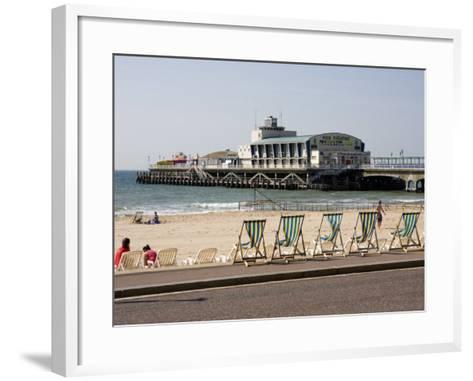 Deckchairs, Beach and Pier, Bournemouth, Dorset, England, United Kingdom, Europe-Rainford Roy-Framed Art Print