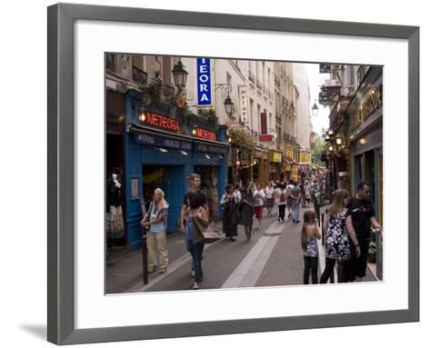 Rue De La Huchette, Quartier Latin, Paris, France, Europe-Pitamitz Sergio-Framed Art Print