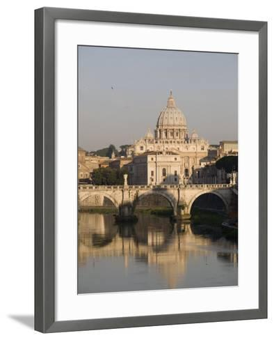 St. Peters Dome and the Tiber River, Rome, Lazio, Italy, Europe-Olivieri Oliviero-Framed Art Print