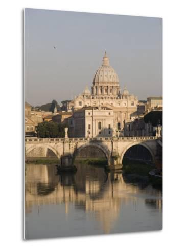 St. Peters Dome and the Tiber River, Rome, Lazio, Italy, Europe-Olivieri Oliviero-Metal Print