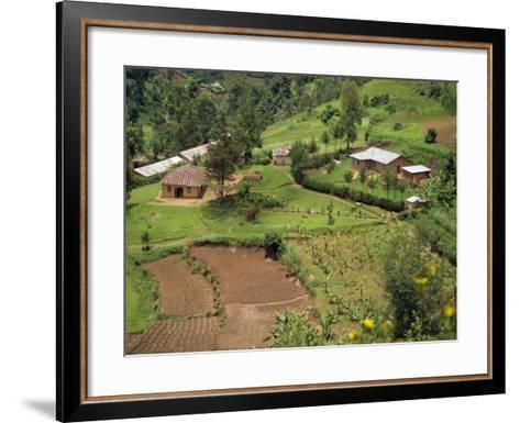 Aerial View of Children Leaving School and Terraced Fields, Kabale, Uganda, Africa-Poole David-Framed Art Print