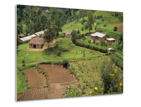 Aerial View of Children Leaving School and Terraced Fields, Kabale, Uganda, Africa-Poole David-Metal Print