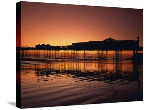 Reflections in the Sea of the Pier at Brighton at Sunset, Sussex, England, United Kingdom, Europe-Rainford Roy-Stretched Canvas Print