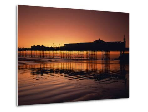 Reflections in the Sea of the Pier at Brighton at Sunset, Sussex, England, United Kingdom, Europe-Rainford Roy-Metal Print