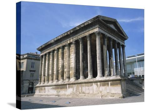 Maison Carree Temple in the Town of Nimes, in Languedoc Roussillon, France, Europe-Rainford Roy-Stretched Canvas Print