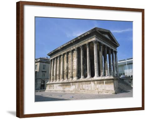 Maison Carree Temple in the Town of Nimes, in Languedoc Roussillon, France, Europe-Rainford Roy-Framed Art Print