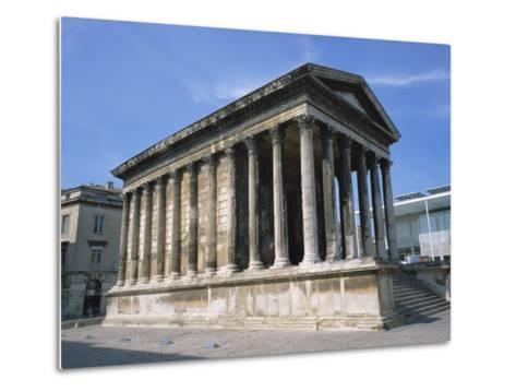 Maison Carree Temple in the Town of Nimes, in Languedoc Roussillon, France, Europe-Rainford Roy-Metal Print