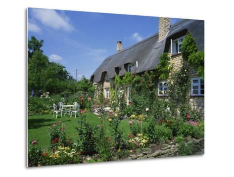 Thatched Cottages in the Cotswolds, Gloucestershire, England, UK-Rainford Roy-Metal Print