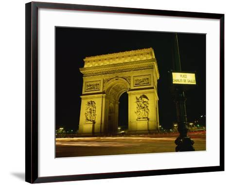 Place Charles De Gaulle Street Sign and the Arc De Triomphe Illuminated at Night, Paris, France-Rainford Roy-Framed Art Print