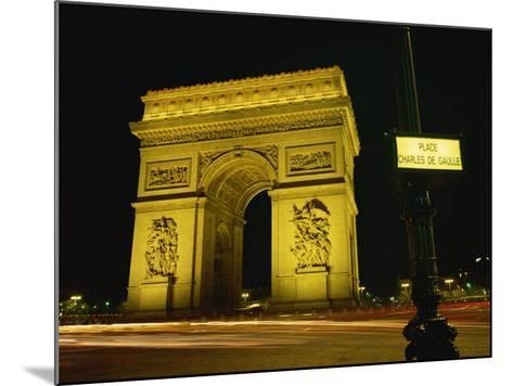 Place Charles De Gaulle Street Sign and the Arc De Triomphe Illuminated at Night, Paris, France-Rainford Roy-Mounted Photographic Print