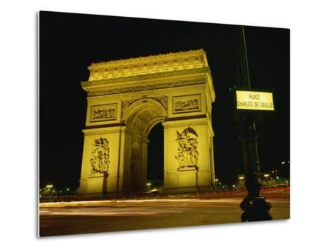 Place Charles De Gaulle Street Sign and the Arc De Triomphe Illuminated at Night, Paris, France-Rainford Roy-Metal Print