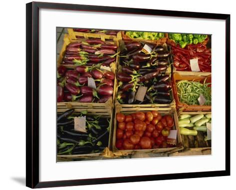 Aubergines, Tomatoes, Peppers and Other Vegetables in the Market at Tenerife, Canary Islands, Spain-Rainford Roy-Framed Art Print