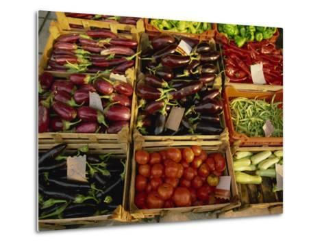 Aubergines, Tomatoes, Peppers and Other Vegetables in the Market at Tenerife, Canary Islands, Spain-Rainford Roy-Metal Print