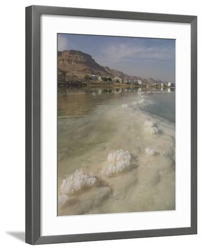 Sea and Salt Formations with Hotels and Desert Cliffs Beyond, Dead Sea, Israel, Middle East-Simanor Eitan-Framed Art Print