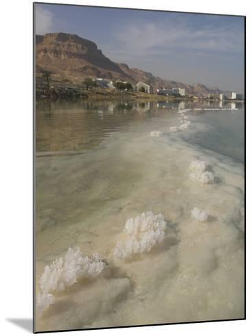 Sea and Salt Formations with Hotels and Desert Cliffs Beyond, Dead Sea, Israel, Middle East-Simanor Eitan-Mounted Photographic Print