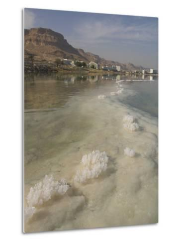 Sea and Salt Formations with Hotels and Desert Cliffs Beyond, Dead Sea, Israel, Middle East-Simanor Eitan-Metal Print