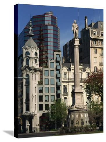 Architecture of Plaza Lavalle and Statue, Buenos Aires, Argentina, South America-Simanor Eitan-Stretched Canvas Print