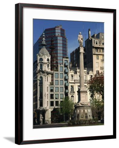 Architecture of Plaza Lavalle and Statue, Buenos Aires, Argentina, South America-Simanor Eitan-Framed Art Print
