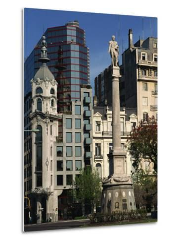 Architecture of Plaza Lavalle and Statue, Buenos Aires, Argentina, South America-Simanor Eitan-Metal Print