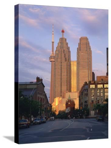 C.N.Tower and City Centre Skyscraper at Dawn, Toronto, Ontario, Canada, North America-Rainford Roy-Stretched Canvas Print