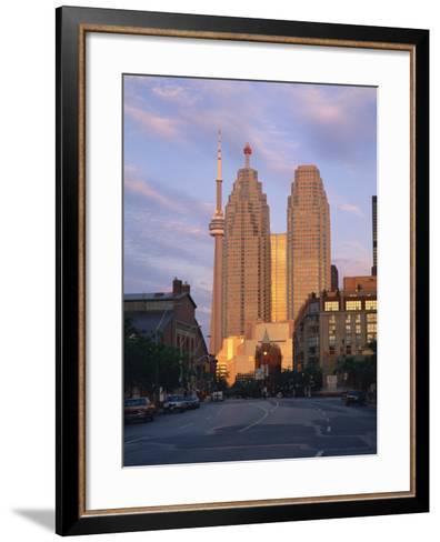 C.N.Tower and City Centre Skyscraper at Dawn, Toronto, Ontario, Canada, North America-Rainford Roy-Framed Art Print