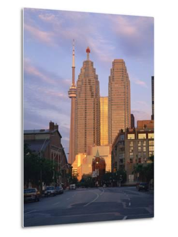C.N.Tower and City Centre Skyscraper at Dawn, Toronto, Ontario, Canada, North America-Rainford Roy-Metal Print