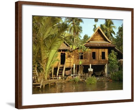 Traditional Thai House on Stilts Above the River in Bangkok, Thailand, Southeast Asia-Sassoon Sybil-Framed Art Print