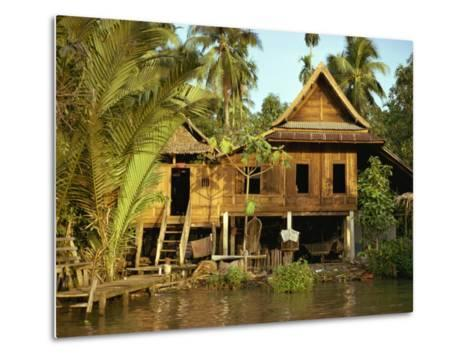Traditional Thai House on Stilts Above the River in Bangkok, Thailand, Southeast Asia-Sassoon Sybil-Metal Print