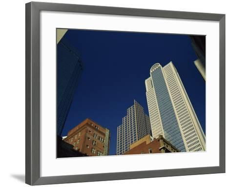 Old Brick Building Contrasts with Modern Skyscrapers in Dallas, Texas, USA-Rennie Christopher-Framed Art Print