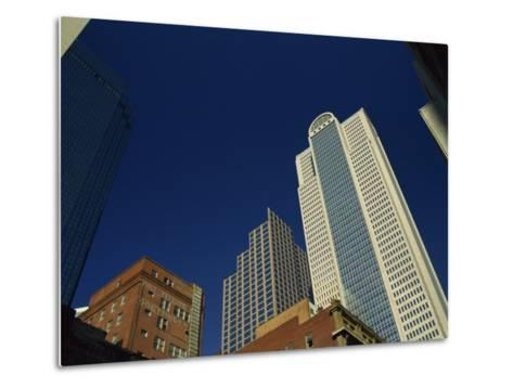 Old Brick Building Contrasts with Modern Skyscrapers in Dallas, Texas, USA-Rennie Christopher-Metal Print