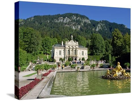 Gilded Statues and Pool in the Gardens in Front of Linderhof Castle, Bavaria, Germany, Europe-Scholey Peter-Stretched Canvas Print