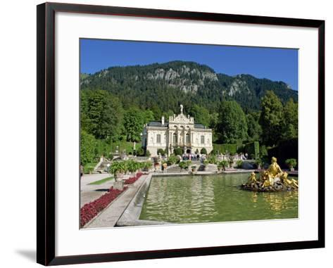 Gilded Statues and Pool in the Gardens in Front of Linderhof Castle, Bavaria, Germany, Europe-Scholey Peter-Framed Art Print