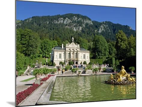 Gilded Statues and Pool in the Gardens in Front of Linderhof Castle, Bavaria, Germany, Europe-Scholey Peter-Mounted Photographic Print