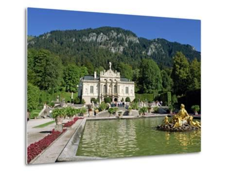 Gilded Statues and Pool in the Gardens in Front of Linderhof Castle, Bavaria, Germany, Europe-Scholey Peter-Metal Print