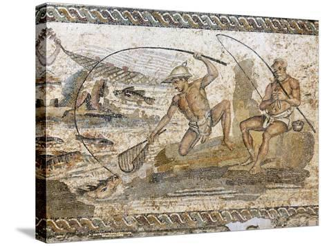 Roman Mosaic Dating from the 2 AD, from the Villa of the Nile at Leptis Magna, Tripoli, Libya-Rennie Christopher-Stretched Canvas Print