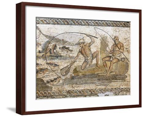 Roman Mosaic Dating from the 2 AD, from the Villa of the Nile at Leptis Magna, Tripoli, Libya-Rennie Christopher-Framed Art Print