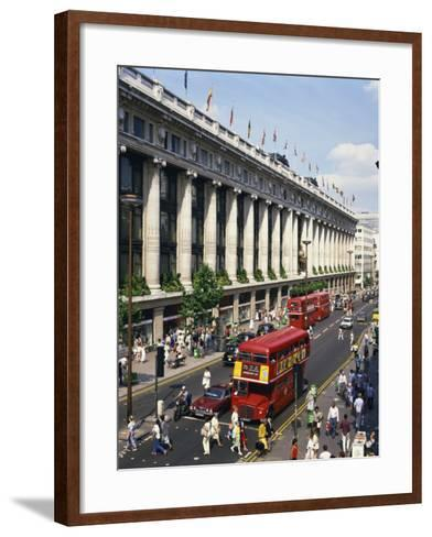 Selfridges and Old Routemaster Bus before They Were Withdrawn, Oxford Street, London, England-Rawlings Walter-Framed Art Print