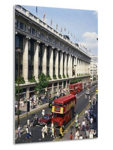 Selfridges and Old Routemaster Bus before They Were Withdrawn, Oxford Street, London, England-Rawlings Walter-Metal Print