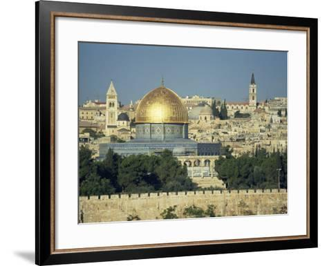 Dome of the Rock and Temple Mount from Mount of Olives, Jerusalem, Israel, Middle East-Simanor Eitan-Framed Art Print