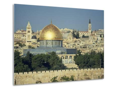 Dome of the Rock and Temple Mount from Mount of Olives, Jerusalem, Israel, Middle East-Simanor Eitan-Metal Print