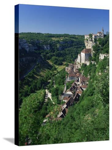 Town and Church Overlook a Green Valley at Rocamadour, Lot, Midi Pyrenees, France, Europe-Richardson Rolf-Stretched Canvas Print