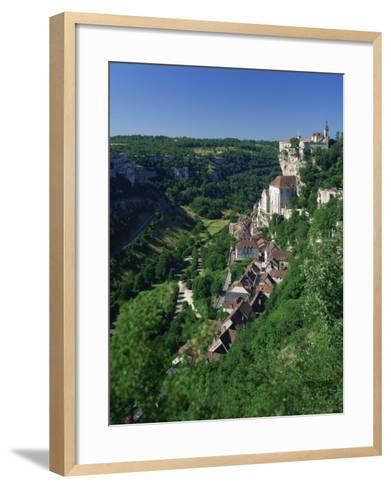 Town and Church Overlook a Green Valley at Rocamadour, Lot, Midi Pyrenees, France, Europe-Richardson Rolf-Framed Art Print