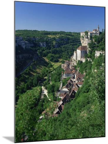 Town and Church Overlook a Green Valley at Rocamadour, Lot, Midi Pyrenees, France, Europe-Richardson Rolf-Mounted Photographic Print