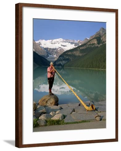 Man with an Alpenhorn Beside Lake Louise in the Banff National Park, Alberta, Canada, North America-Renner Geoff-Framed Art Print