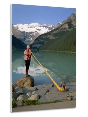 Man with an Alpenhorn Beside Lake Louise in the Banff National Park, Alberta, Canada, North America-Renner Geoff-Metal Print