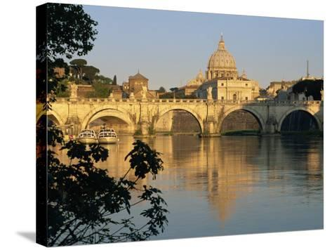 River Tiber and Ponte Sant'Angelo, St. Peter's Basilica and the Vatican Beyond, Rome, Lazio, Italy-Tomlinson Ruth-Stretched Canvas Print