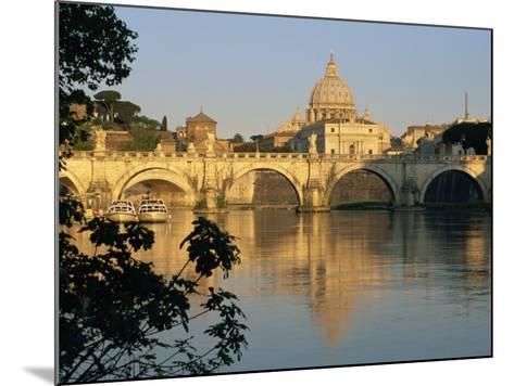 River Tiber and Ponte Sant'Angelo, St. Peter's Basilica and the Vatican Beyond, Rome, Lazio, Italy-Tomlinson Ruth-Mounted Photographic Print
