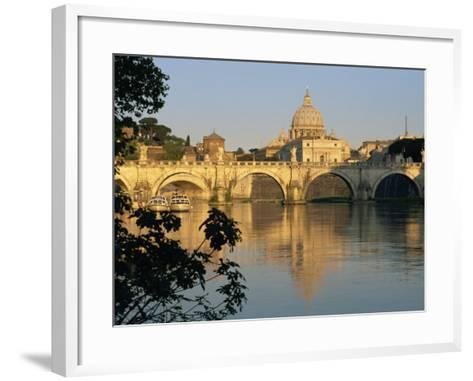 River Tiber and Ponte Sant'Angelo, St. Peter's Basilica and the Vatican Beyond, Rome, Lazio, Italy-Tomlinson Ruth-Framed Art Print