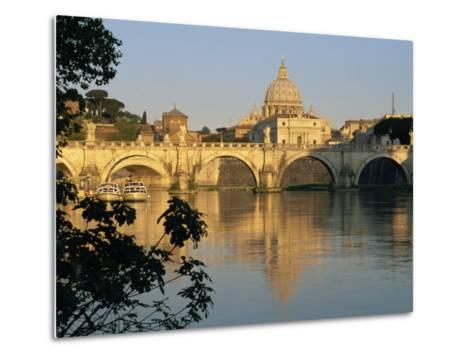 River Tiber and Ponte Sant'Angelo, St. Peter's Basilica and the Vatican Beyond, Rome, Lazio, Italy-Tomlinson Ruth-Metal Print