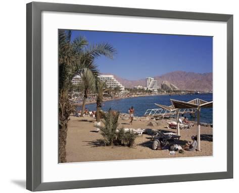 Beach and Hotels, Eilat, Israel, Middle East-Simanor Eitan-Framed Art Print